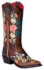 Anderson Bean® Macie Bean™ Ladies Chocolate Brown w/Floral Embroidered Snip Toe Boot