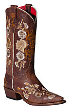 Anderson Bean® Macie Bean™ Ladies Chocolate Brown w/Floral Embroidery Snip Toe Boot