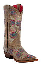 Anderson Bean® Macie Bean™ Ladies Jolene Brown Floral Embroidery Snip Toe Boots