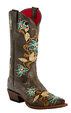 Anderson Bean® Macie Bean™ Ladies Black Vegas Bound Glitterrific Flashy Embroidered Snip Toe Western Boots
