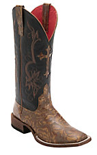 Anderson Bean® Macie Bean™ Women's Tan Texas Rose Embossed w/Black Glove Top Double Welt Square Toe Western Boots