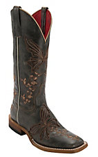 Anderson Bean Macie Bean Women's Distressed Black w/ Chocolate Butterfly Inlay Square Toe Boots