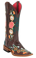 Anderson Bean® Macie Bean™ Ladies Brown Floral Embroidered Square Toe Boots
