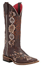 Anderson Bean® Macie Bean™ Ladies Chocolate w/ Floral Embroidery Square Toe Western Boots