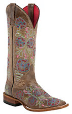 Anderson Bean® Macie Bean™ Ladies Brown w/ Pastel Floral Embroidery Square Toe Boots