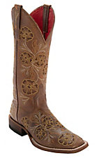Anderson Bean Macie Bean Women's Whiskey Bent w/ Beige & Gold Toolie Embroidery Square Toe Boots