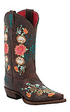 Anderson Bean® Macie Bean™ Kids Vintage Brown w/ Floral Embroidery Snip Toe Boot