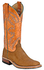 Anderson Bean® Mens Distressed Buffalo Brown w/Orange Double Welt Square Toe Boots