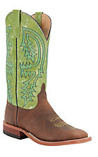 Anderson Bean® Men's Brown Bison w/ Kiwi Green Double Welt Square Toe Western Boot