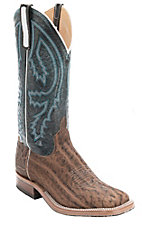 Anderson Bean Men's Brown Elephant w/ Blue Top Exotic Square Toe Western Boot