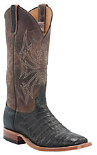 Anderson Bean Men's Chocolate Crocodile Belly Double Welt Square Toe Western Boot