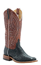 Anderson Bean Men's Black with Rust Lava Top Full Quill Ostrich Double Welt Square Toe Western Boots