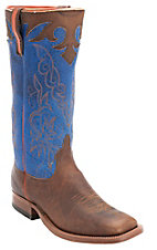 Anderson Bean® Men's Distressed Brown w/ Blue Stovepipe Top Square Toe Western Boots