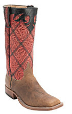 Anderson Bean Men's Brown w/ Red Diamond Stitched Stovepipe Top Square Toe Boots