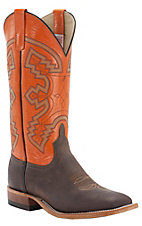 Anderson Bean® Men's Choc Crazy Horse w/ Orange Double Welt Square Toe Western Boot