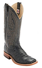 Anderson Bean Men's Black Caiman Crocodile Belly Double Welt Exotic Square Toe Western Boots