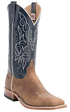 Anderson Bean® Men's Distressed Buff Tan Bison w/Regal Blue Top Double Welt Square Toe Western Boots