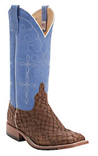 Anderson Bean Men's Tan Brown Loch Ness Monster w/Blue Top Double Welt Square Toe Western Boots
