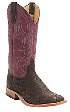 Anderson Bean® Men's Chocolate Loch Ness Monster w/Wine Lava Top Double Welt Square Toe Western Boots