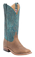 Anderson Bean Men's Distressed Tan Bison w/ Aqua Monet Top Double Welt Square Toe Western Boots