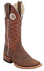 Anderson Bean® Youth Toast Bison Brown Diamond Stitch Square Toe Boots