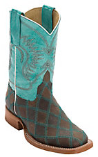 Anderson Bean® Youth Light Brown & Dark Brown Patchwork Square Toe Western Boots