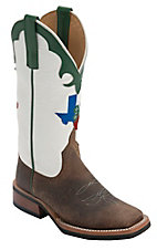 XEMAnderson Bean® Youth Toast Bison Brown w/ Texas 4-H Logo on White Top Green Trim Double Welt Square Toe Western Boots