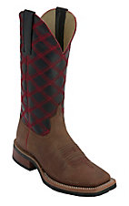 Anderson Bean® Youth Honey w/ Black & Red Crazy Stitch Square Toe Boots