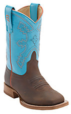 Anderson Bean® Youth Briar Oil Tan w/ Baby Blue Top Square Toe Western Boots