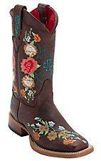 Anderson Bean® Youth Vintage Brown w/ Striking Multicolored Floral Embroidery Square Toe Western Boots
