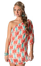 Karlie® Women's Red, Pink and Turquoise Geo Aztec One Shoulder Dress