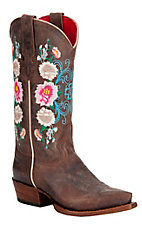 Anderson Bean® Macie Bean™ Kid's Dark Brown Floral Embroidered Snip Toe Western Boots