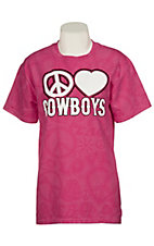Cattilac Style® Ladies Pink Peace Love Cowboys Short Sleeve Tee