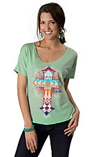 ATX Mafia® Women's Mint Green with Aztec Cross Amen Short Dolman Sleeve Tee