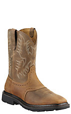 Ariat® Sierra™ Men's Aged Bark Wide Square Steel Toe Pull On Western Work Boots