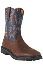 Ariat Sierra Men's Brown Russet Wide Square Steel Toe Pull On Western Work Boots