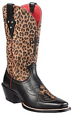 Ariat® Legend Spirit® Ladies Black w/ Leopard Print Top Cross and Studs Punchy Square Toe Boots
