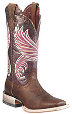 Ariat® Fortress™ Ladies Weathered Brown w/ Purple Marble Triple Welt Square Toe Western Boots