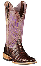 Ariat Nitro Women's Coppered Black Caiman Belly w/ Violet Tan Top Double Welt Square Toe Western Boot