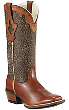 Ariat® Crossfire Caliente™ Ladies Barnwood Brown w/ Cheetah Print Top Square Toe Western Boot