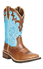 Ariat® Unbridled™ Women's Coyote Brown w/ Cielo Blue Top Square Toe Western Boots