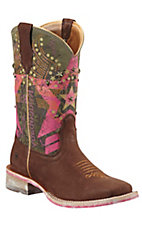 Ariat Rodeobaby Liberty Women's Sueded Chocolate w/ Pink Military Top Square Toe Western Boot
