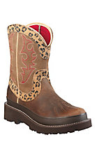 Ariat® Fatbaby Duck™ Women's Distressed Brown w/ Leopard Print Top Western Boots
