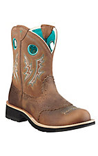 Ariat� Fatbaby Cowgirl? Ladies Powder Brown w/ Tan Top Western Boot