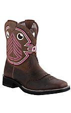 Ariat® Fatbaby Freedom™ Women's Powder Brown w/ Pink Military Embroidered Top Square Toe Western Boot