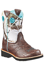 Ariat® Fatbaby™ Children's Brown Crinkle w/ Snowflake Camo Top Western Boot