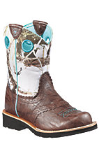 Ariat® Fatbaby™ Youth Brown Crinkle w/ Snowflake Camo Top Western Boot
