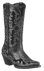 Ariat® Dandy™ Ladies Black Deertan w/ Black Inlays Snip Toe Western Boots