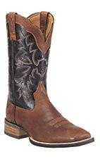 Ariat Sweetwater Men's Rough Cognac with Deep Brown Wide Square Toe Western Boot