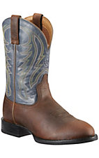 Ariat® Sport™ Men's Powder Brown with Navy Top Round Toe Stockman Western Boots